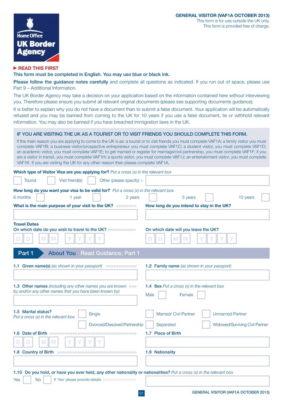 Анкета по форме VAF1