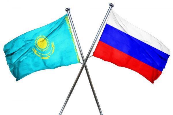 Флаги РФ и Казахстана