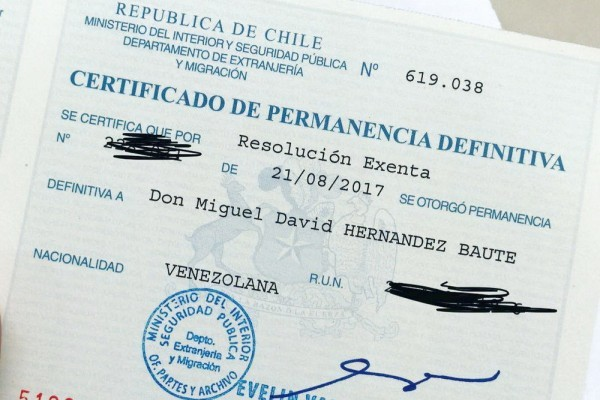 Окончательное пребывание в Чили