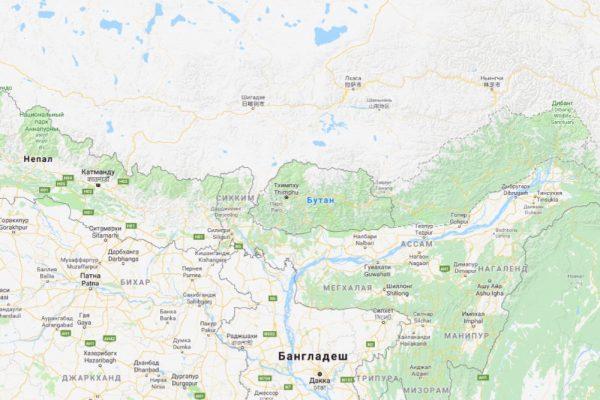 Карта Бутана