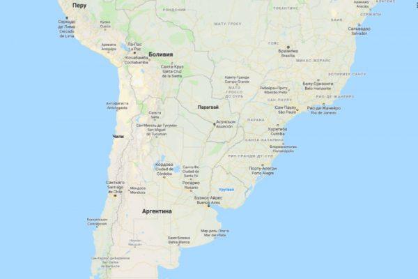 Уругвай на карте