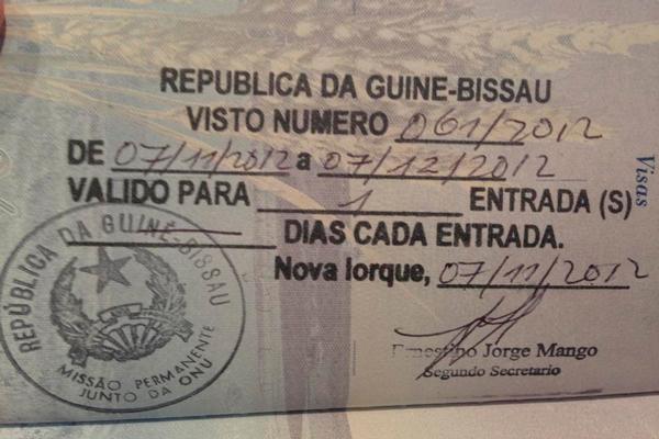Образец визы в Гвинею