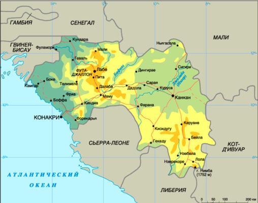Расположение Гвинеи на карте